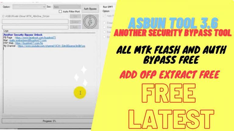 Download ASBUN Another Security Bypass Unlock Tool V3.6 – All MediaTek Auth Unlock Tool Free