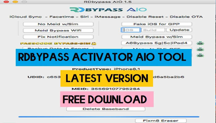 RDbypass Activator AIO Tool v1.5 Latest Version Free Download for MAC