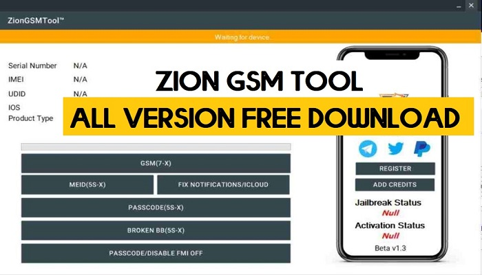 Zion GSM Tool V2.3.4 Icloud Bypass Latest Setup All Version Free Download