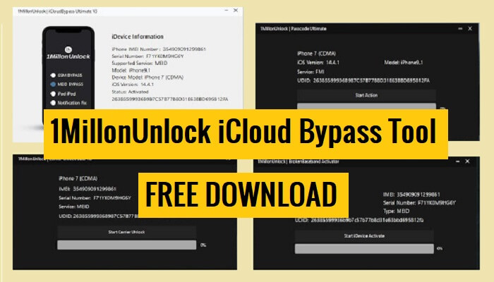 1MillonUnlock iCloud Bypass Tool Free Download | latest Version | 100% Working
