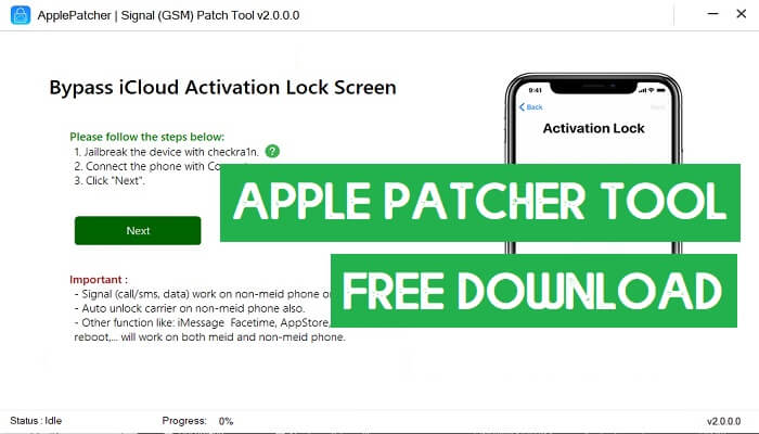 Apple Patcher Tool iCloud Bypass Latest 14.5.1 14.6 MEID GSM Network