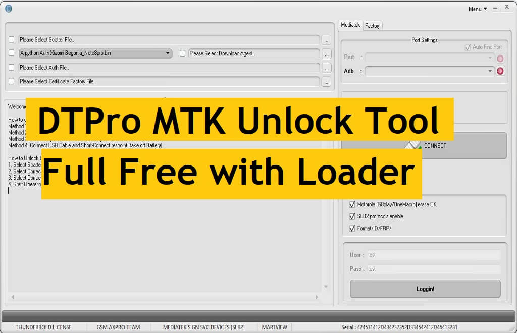 DTPro MTK Unlock Tool Full Free Download Without Activation